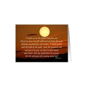 Encouagement, Love, Full Moon in Red Sky at Sunset, Over