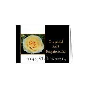 9th Wedding Anniversary card for Son & Daughter in Law   Yellow Rose