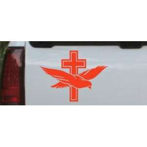 6in X 8in Red    Dove With Cross Christian Car Window Wall