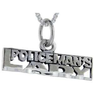 925 Sterling Silver Policemans Lady Talking Pendant (w/ 18 Silver