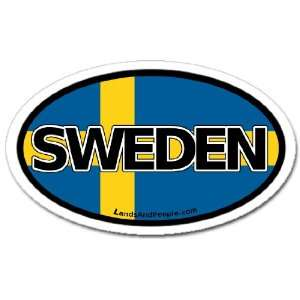 Sweden Swedish Flag Car Bumper Sticker Decal Oval Automotive