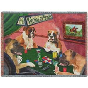 Throw Blanket 4 Dogs Playing Poker 50x60:  Home & Kitchen
