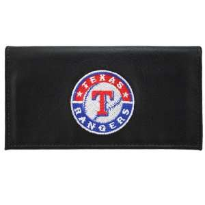Texas Rangers Black Embroidered Leather Checkbook Cover