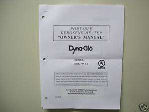 DYNA GLO (RMC) Kerosene Heater Owners Manual For RMC95C