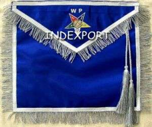 HAND EMBROIDERED MASONIC ORDER OF EASTERN STAR WORTHY PATRON APRON (MA