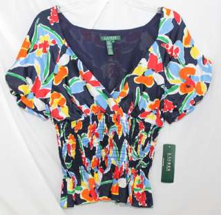 NWT RALPH LAUREN V NECK FLORAL LADY SILK BLOUSE SHIRT L
