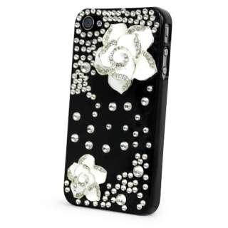 3D FLOWER DESIGNER CRYSTAL GEM BLING DIAMANTE CASE COVER IPHONE 4 4S