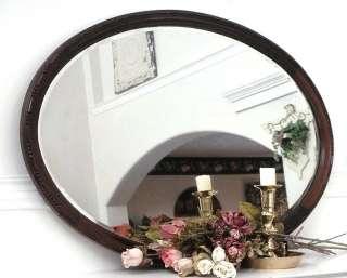Antique 35 Large Oak Wood Frame Oval Beveled Glass Mirror