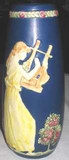 ANTIQUE WELLER ART POTTERY FLOWER GARDEN LADY BUST MUSIC HARP DRESS