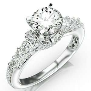 Four Prong Pave Set Round Diamonds Engagement Ring with a 0.75 Carat H