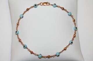 14k solid PINK ROSE gold BABY BLUE EVIL EYE bracelet