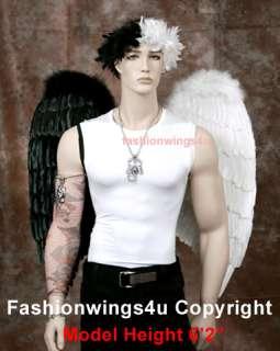 Black & White feather wings halo Half Angel Half Demon