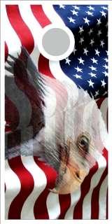 American Flag Eagle Cornhole game decal wrap