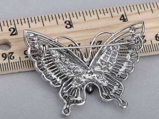 Inspired Violet Silver Tone Crystal Rhinestones Butterfly Pin Brooch
