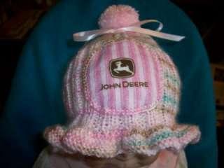 CUSTOM HANDMADE, KNIT,RUFFLED BABY GIRLS CAMO JOHN DEERE HAT