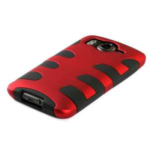 HTC Inspire 4G Fishbone Hard Case Silicone Cover Red /Black