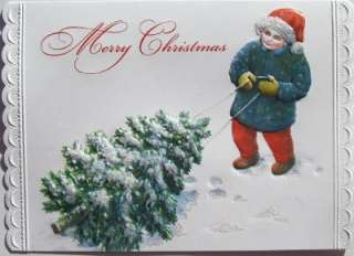 Carol Wilson Christmas Greeting Card Boy Bringing Home The Christmas