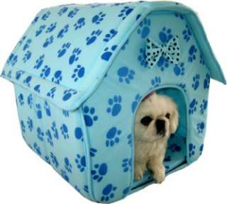 Blue Collapsible Indoor Pet Dog Cat Bed House Furniture