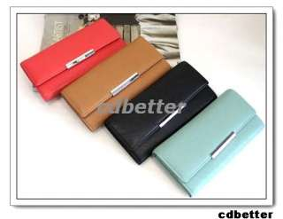 NEW Womens Fashion Simple PU Long Clutch Wallets Purses