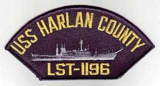 USS HARLAN COUNTY LST 1196   U.S. NAVY CAP PATCH