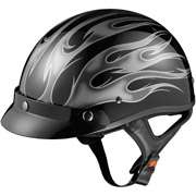 Helmet, Flame Silver, L GLX DOT Half Motorcycle Helmet, Flame Silver