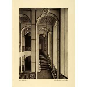 1915 Print Main Stairs Design Interior Haupttreppe Paul Mebes German