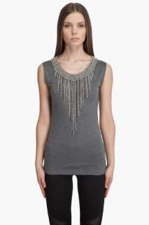 Haute Hippie Rhinestone Fringe T shirt for women