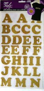 Iron On Fabric Transfers   Gold Glitter Letters