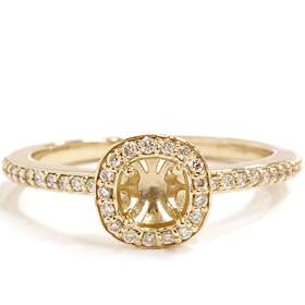 VS 1/4CT Cushion Halo Diamond Engagement Ring Yellow Gold Semi Mount