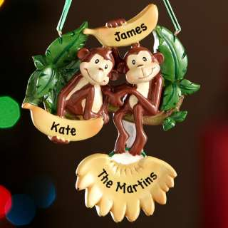 Personalized Monkey Family Christmas Ornament 2 Monkeys, Personalized