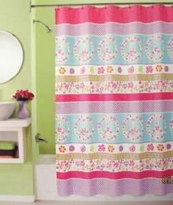 NEW PERI Love Peace Sign Daisy Fabric Shower Curtain Pink White