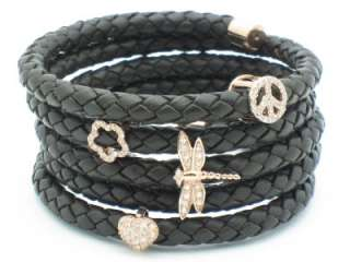 GOLD SILVER DIAMOND SET SAPPHIRE LEATHER WRAP CUFF CHARM BRACELET GIFT