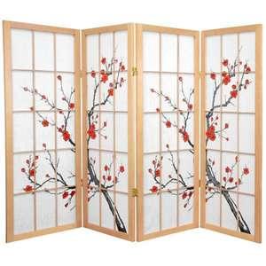 Oriental Furniture 48 Low Cherry Blossom Shoji Room Divider Decor