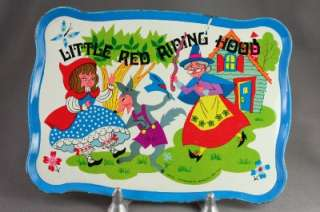 Vintage OHIO ART Toy Tin Tray Little Red Riding Hood