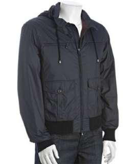 Brunello Cucinelli navy water resistant zip front four pocket jacket
