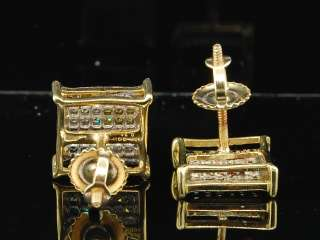 YELLOW GOLD MULTI COLORED DIAMOND PAVE STUDS EARRINGS SQUARE