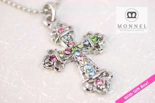 A59 Crystal Cross Charm Pendant Necklace (+Gift Box)