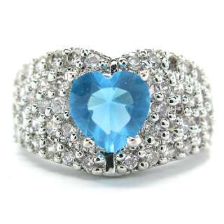 PERSONALIZED JEWELRY Heart Cut Aquamarine Blue White Gold Plated Ring