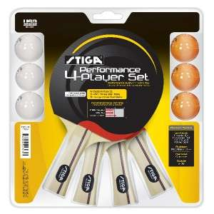 NEW Stiga Performance 4 Player Ping Pong Paddle Set