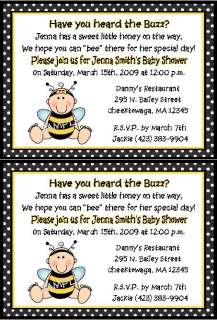 BABY BUMBLE BEE BOY OR GIRL BABY SHOWER INVITATIONS