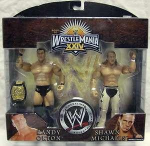 WWE Jakks SHAWN MICHAELS & RANDY ORTON w/ Belt Wrestlemania 24 Figures