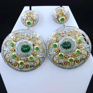 Top Green Emerald Diamond Vintage Ladies Earrings Pair $