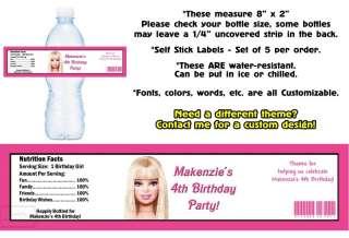 Barbie Mermaid Tale ~ Printed Water Bottle Labels ~ Birthday Party