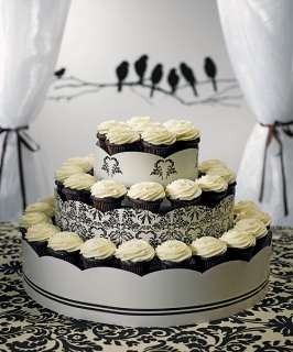 Wedding Decoration LOVE BIRD DAMASK 3 Tiers Cup Cakes Display Tower