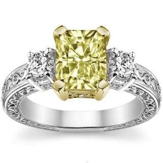 8x6 Yellow Radiant & Round Moissanite Engagement Ring